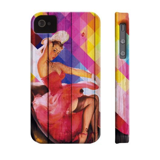 Pinup Rainbow Woman Wood Phone Case