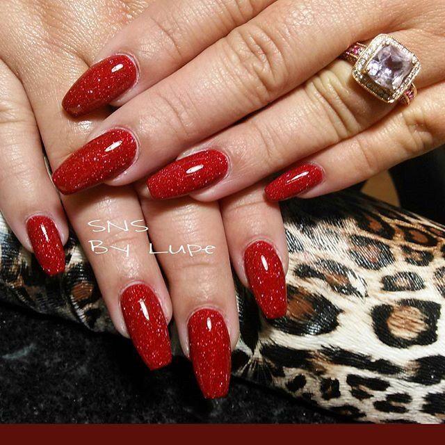 Red Sns Nails ! by @angelnailspatheoaks via @nailartgallery