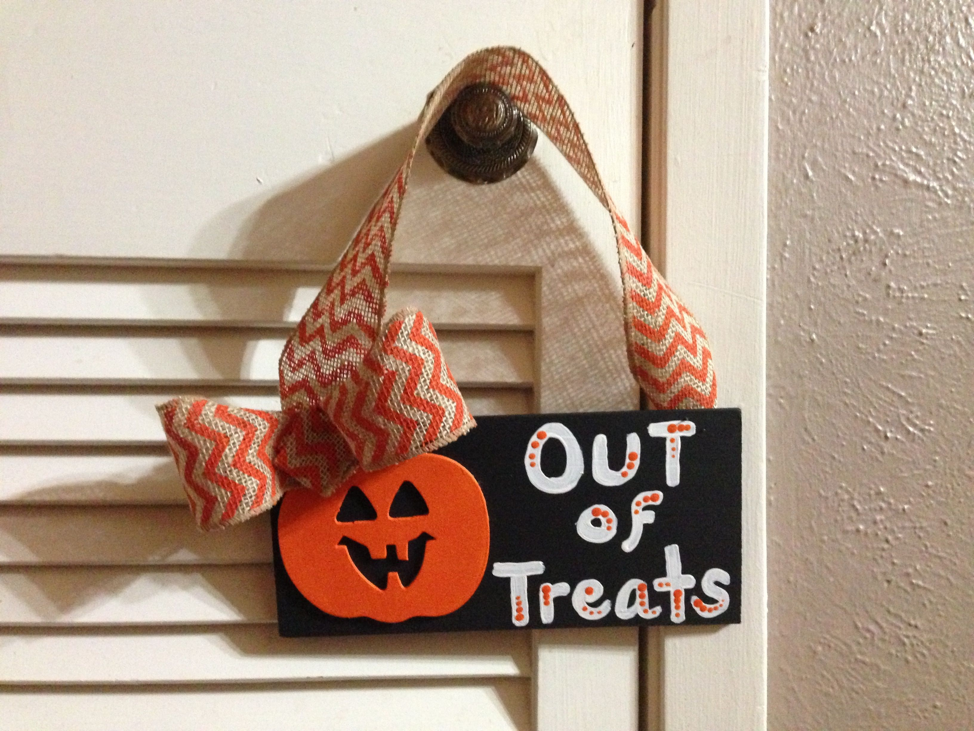 Out Of Treats Sign For Halloween