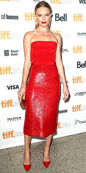 KATE BOSWORTH Matching your shoes to your dress to your... lips? Kate pulls it off in red Hugo Boss, worn with coordinating Kurt Geiger pumps, at the Still Alice premiere.