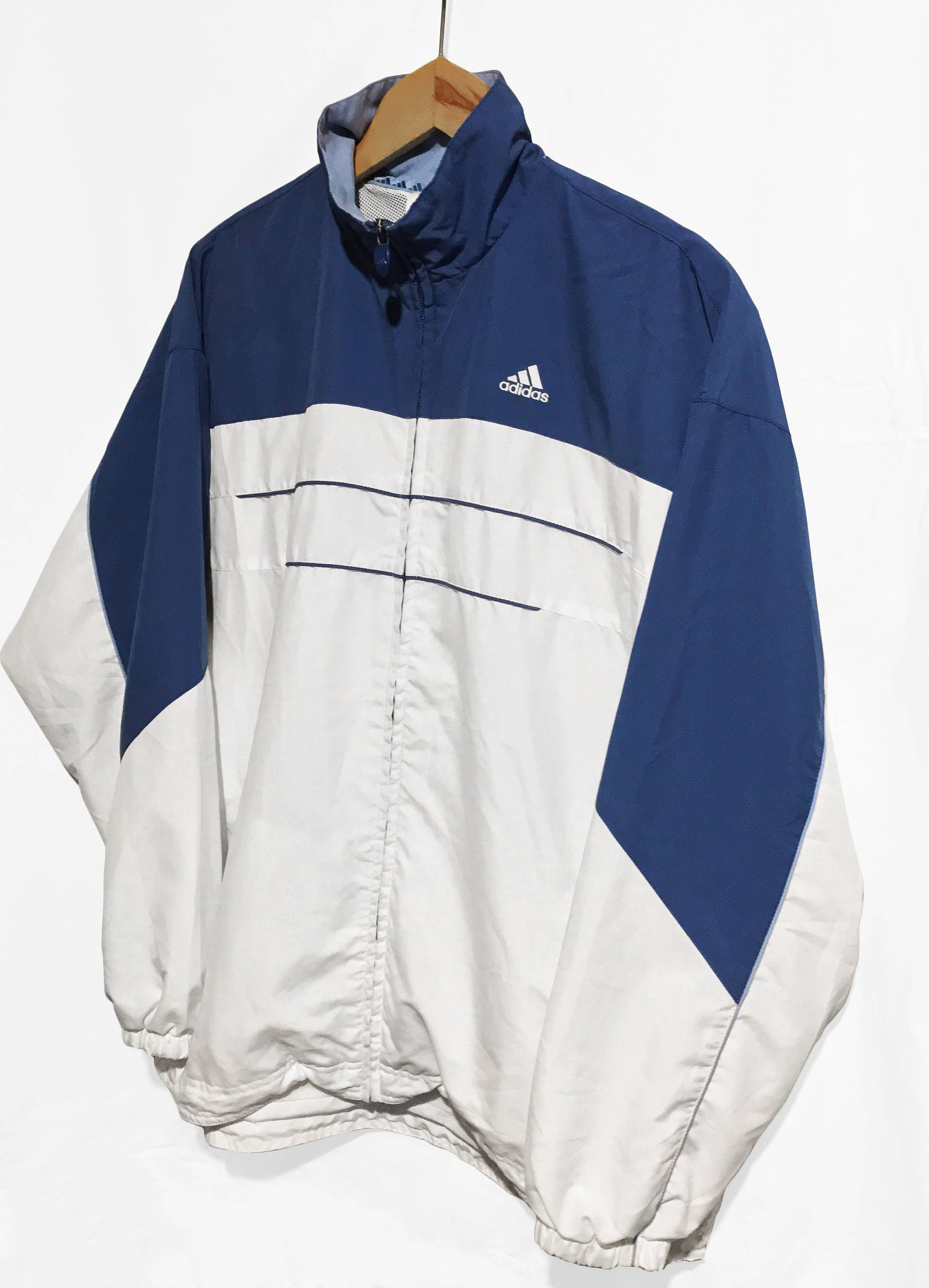Vintage 90S Adidas Women's Windbreaker Tracksuit top Jacket Blue ...