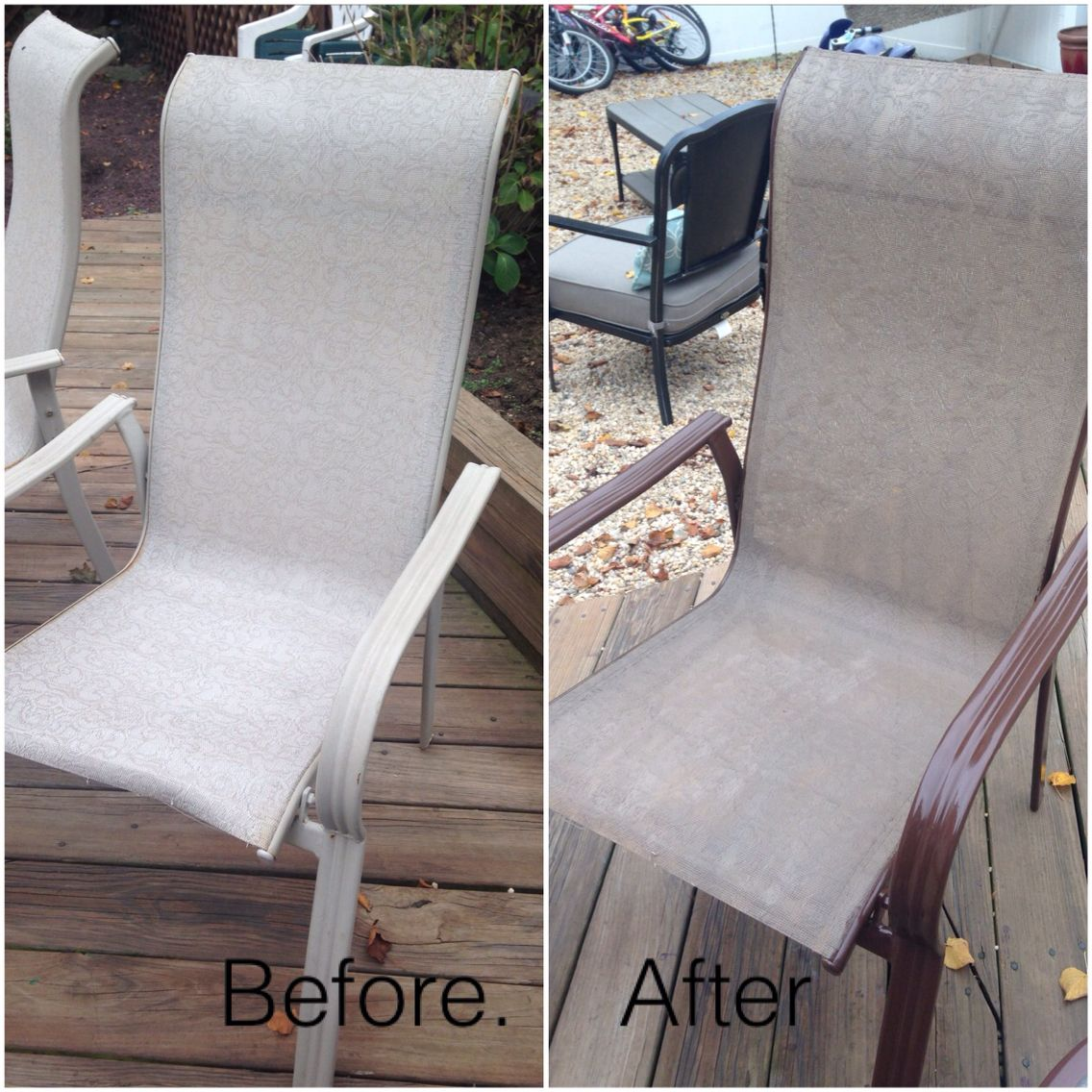 Old Patio Furniture No Problem Spray Paint Fabric Rustoleum Paint On Metal Painting Patio Furniture Patio Furniture Makeover Patio Furniture Fabric