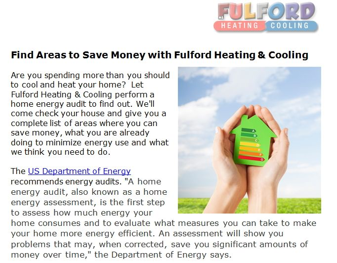 Find Areas To Save Money With Fulford Heating Cooling Saving