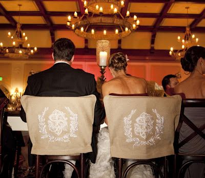 Monogram seat covers for the Bride and Groom. I'm melting!