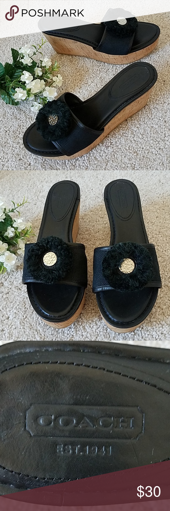 ae98452d44 Coach Jazmin Cork Wedge Sandals 🌿 💚 Coach slip-on wedge sandals features  canvas with leather trim and insole, raffia rosette with gold decorative  button, ...