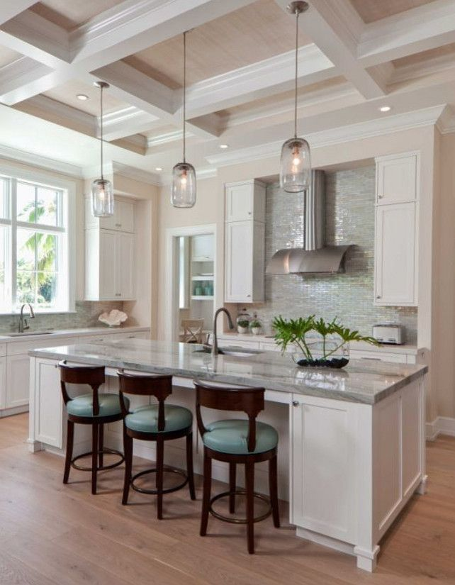 Transitional White and Turquoise Kitchen AlliKrist Custom