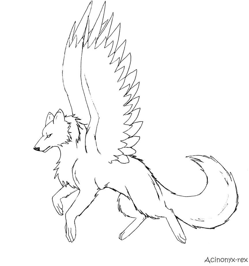 Anime Wolf With Wings Coloring Pages | Wolf drawing, Wolf ...