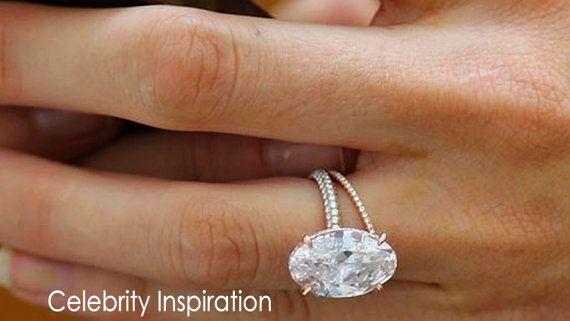 Forever One Moissanite Oval & Diamond Engagement Ring   Etsy