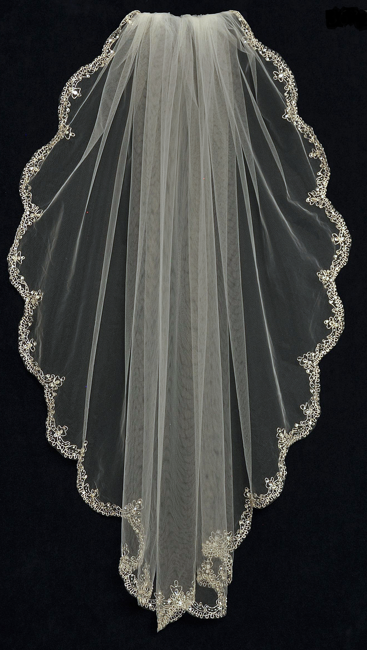 Fingertip Wedding Veil With Rhinestone Beaded Silver Embroidery