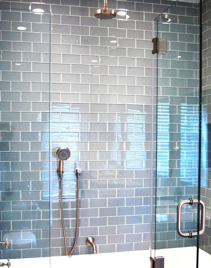 35 Blue Gray Bathroom Tile Ideas And Pictures Glass Subway Tile Bathroom Grey Bathroom Tiles Glass Tile Bathroom