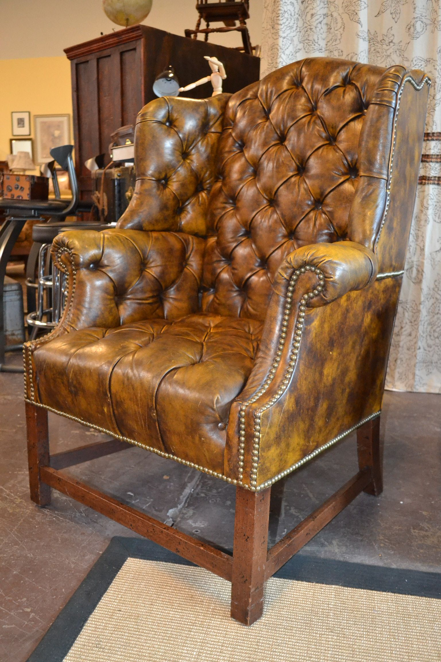 Peachy Mottled Leather Hancock Moore Tufted Library Wing Chair Spiritservingveterans Wood Chair Design Ideas Spiritservingveteransorg