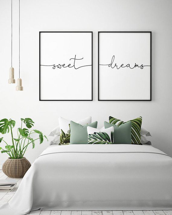 Above Bed Art: Sweet Dreams Printable Art (Set of 2), Bedroom Decor, Scandinavian Art, Bedroom Wall Art Typography Poster *Instant Download*