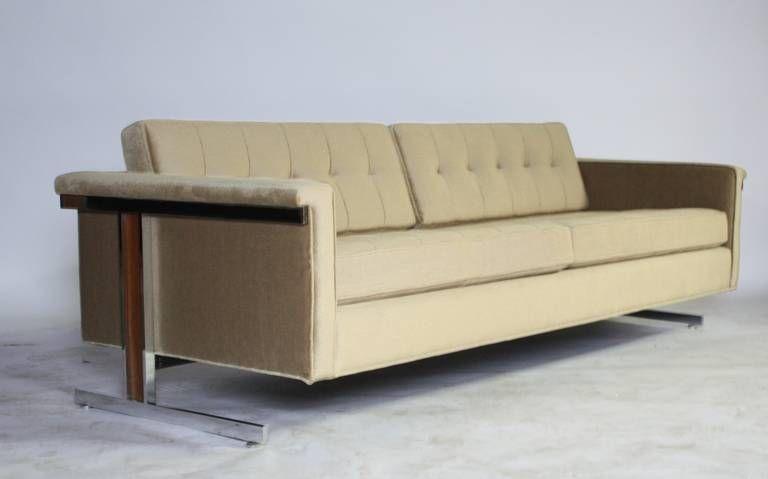 Cantilevered Chrome And Wood Frame Mohair Sofa