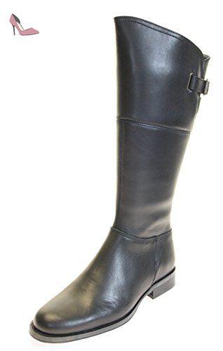 ad218be320b6a TBS Bottes Chaussures en cuir véritable pour femme Partie supérieure avec  boucle Noir - Taille 40