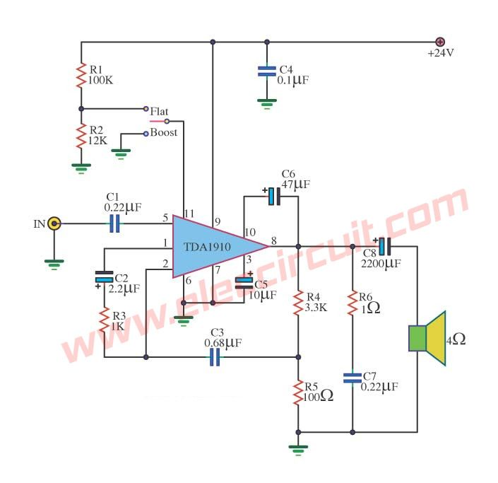 small ic power amplifier circuits for speaker circuits and speakers rh pinterest co uk Yamaha Power Amplifier Circuit Diagram High Power Amplifier Circuit Diagram