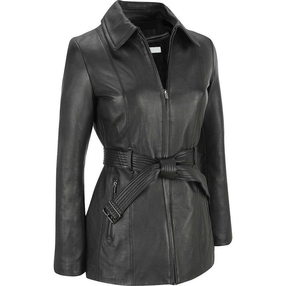 Leather Jacket Women Motorcycle Genuine Zipper Lambskin