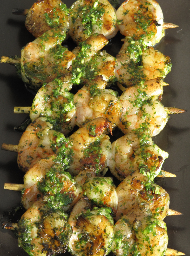 Gets lots of lean protein this summer using your grill. Grilled shrimp with a cilantro pesto boosts the anti-oxidants and is really quite simple to make