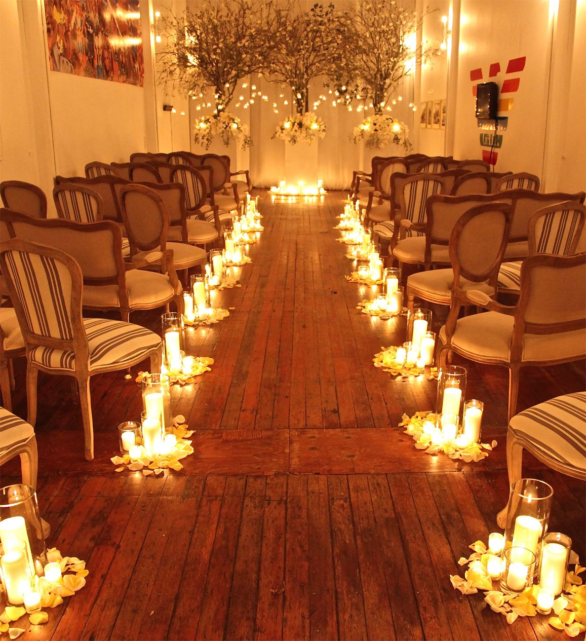 Indoor Wedding: Take #2 Of The Indoor Forest With Fairy Light Aisle