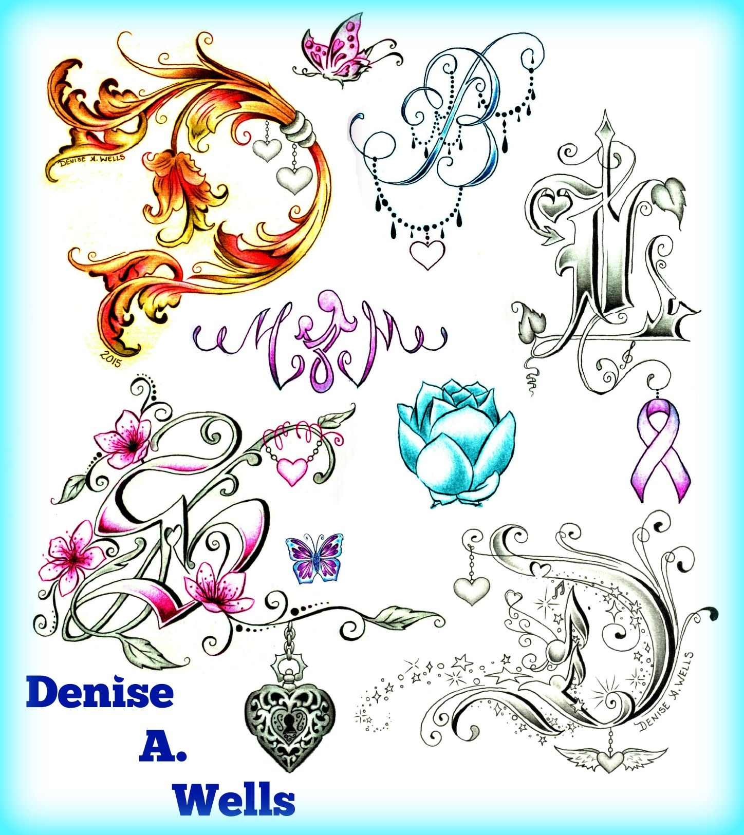 Lettering Tattoo Alphabet By Denise A. Wells Letter D By