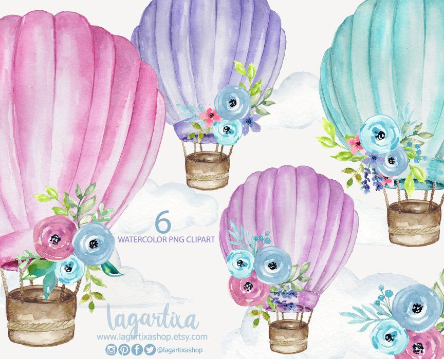Watercolor Hot Air Balloons With Flowers Floral Purple Pink