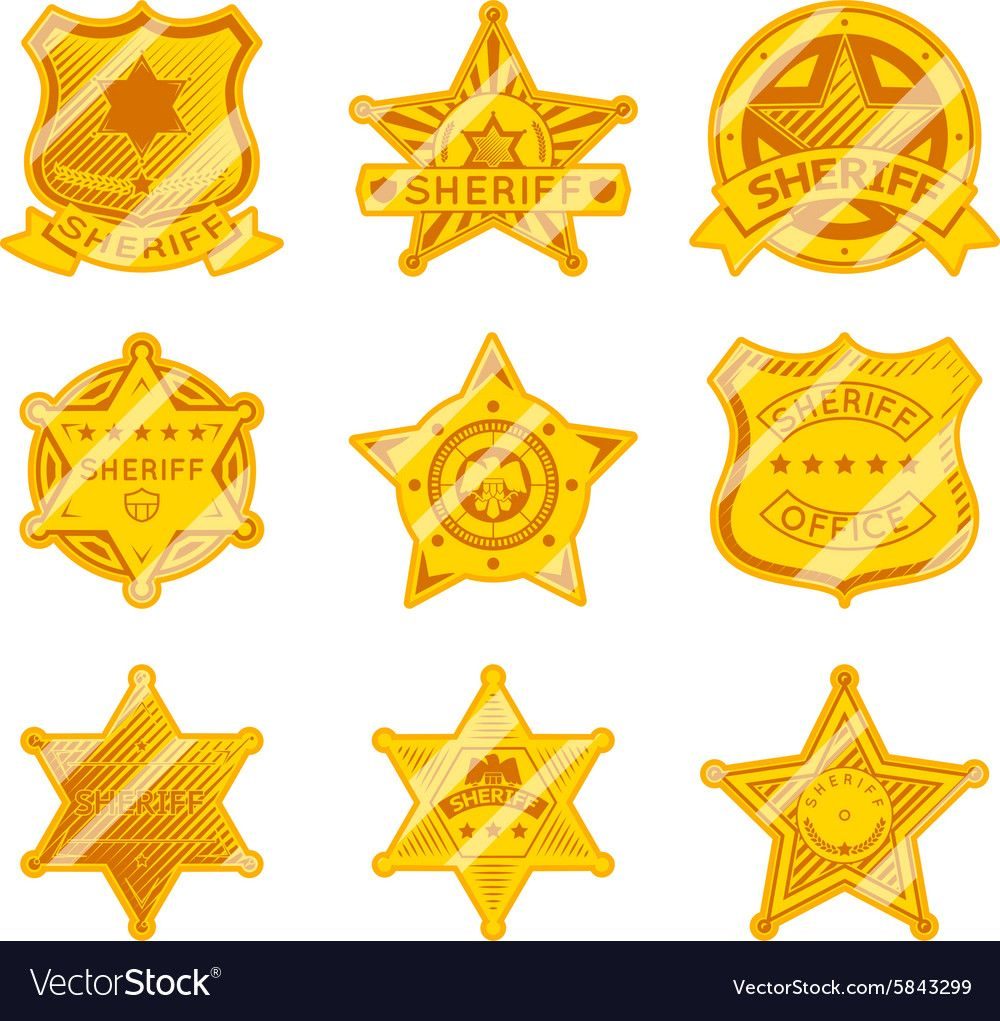 Golden sheriff star badges vector image on Star badge