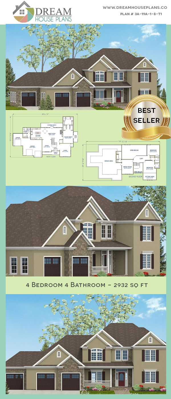 Dream house plans best traditional bedroom sq ft home plan with wrap around porch open floor  unique architecture design also rh pinterest