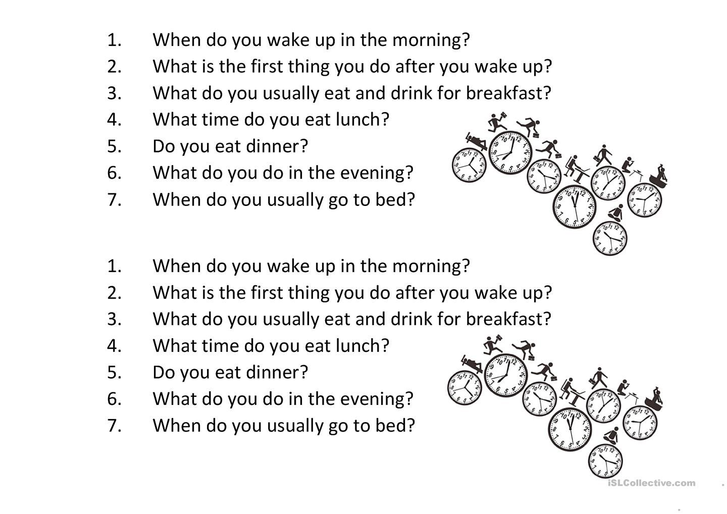 Daily Routine Questions Basic