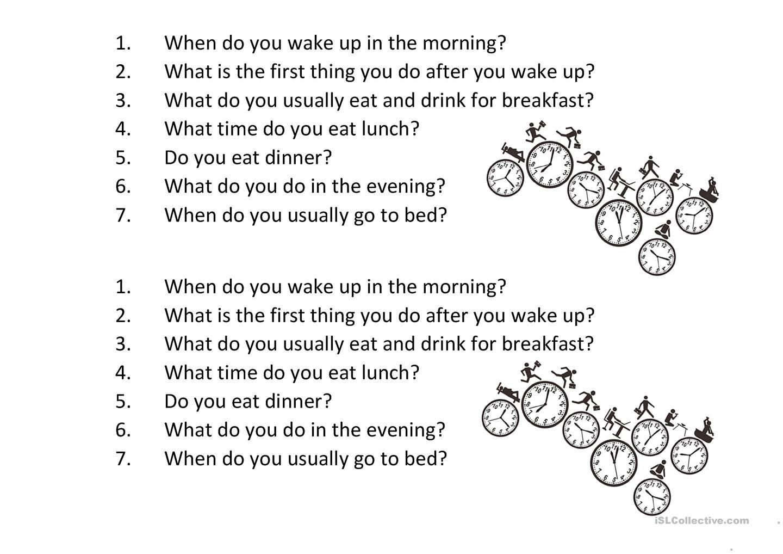 Daily Routine Questions Basic Dengan Gambar