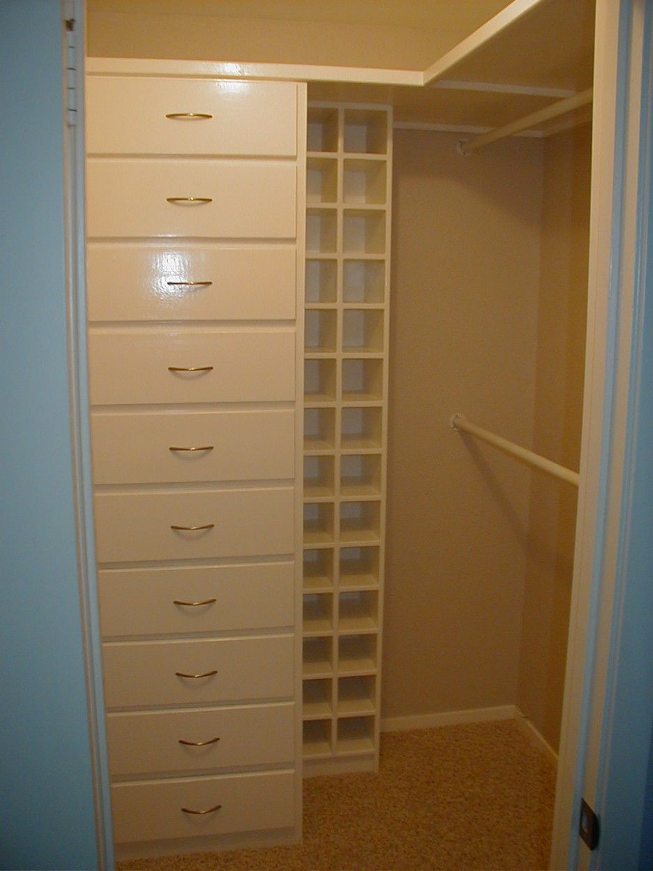 Cool Small Walk In Closet Organizer Come With Wooden Tall Storage Drawers  And Wardrobe Railings For Clothes And Open Shelves For ...