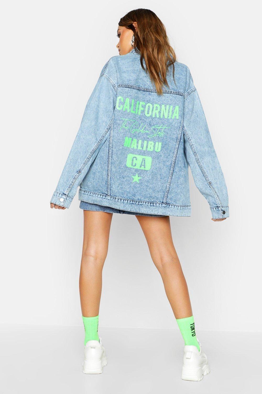 Neon California Oversized Denim Jacket Boohoo Oversized Denim Jacket Denim Jacket Jean Jacket Women [ 1500 x 1000 Pixel ]
