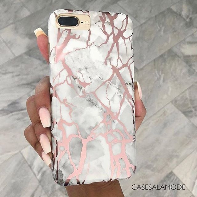 Pink White Marble Rose Gold Phone Case for iPhone