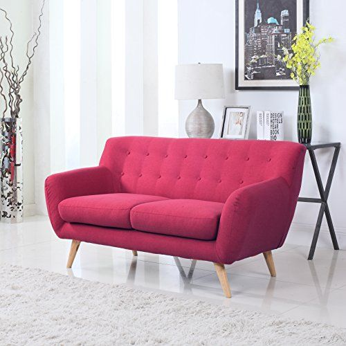 Mid-Century Modern Linen Fabric Sofa, Loveseat in Colors ... https ...