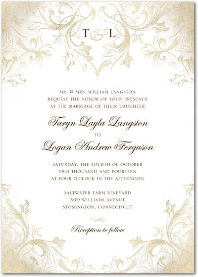Signature White Textured Wedding Invitations - Faded Scroll by Wedding Paper Divas