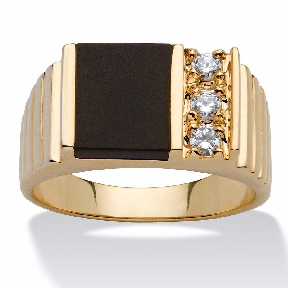 14Kt Yellow Gold Plated Genuine Black Onyx /& Diamond Round Ring