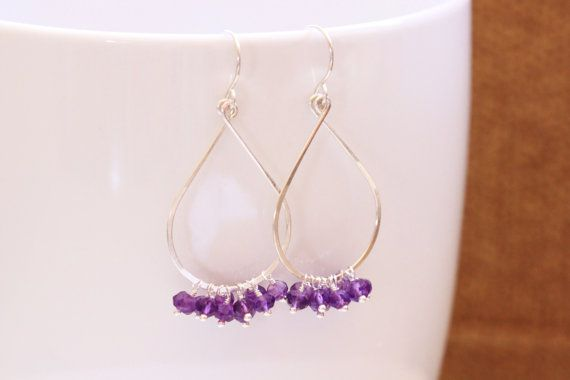 Purple Amethyst Earrings, Argentium Sterling Silver, Tear Drop, February Birthstone, Gemstone Cluster - Priscilla, by Princess Ting Ting Jewelry @ Etsy