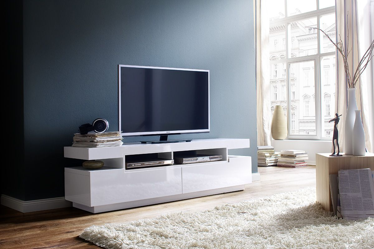 Modern Minimalistic High Gloss White Tv Stand Living Room