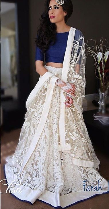 Beautiful Lehenga Simple Royal Blue Blouse With A Beautiful White