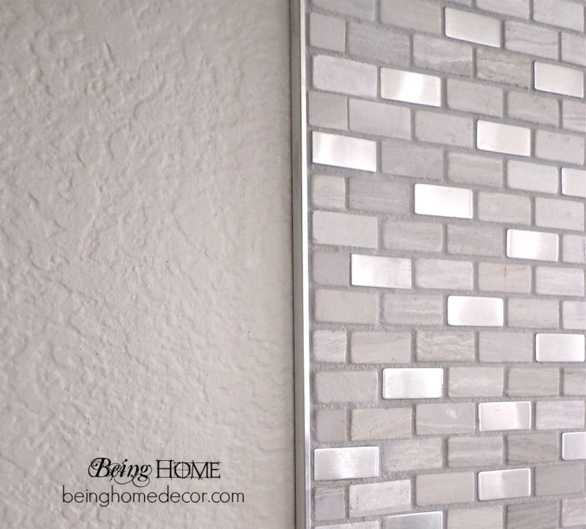Super Simple Diy Tile Backsplash Hometalk Brick Boulevard From Home Depot With Metal Trim Edge