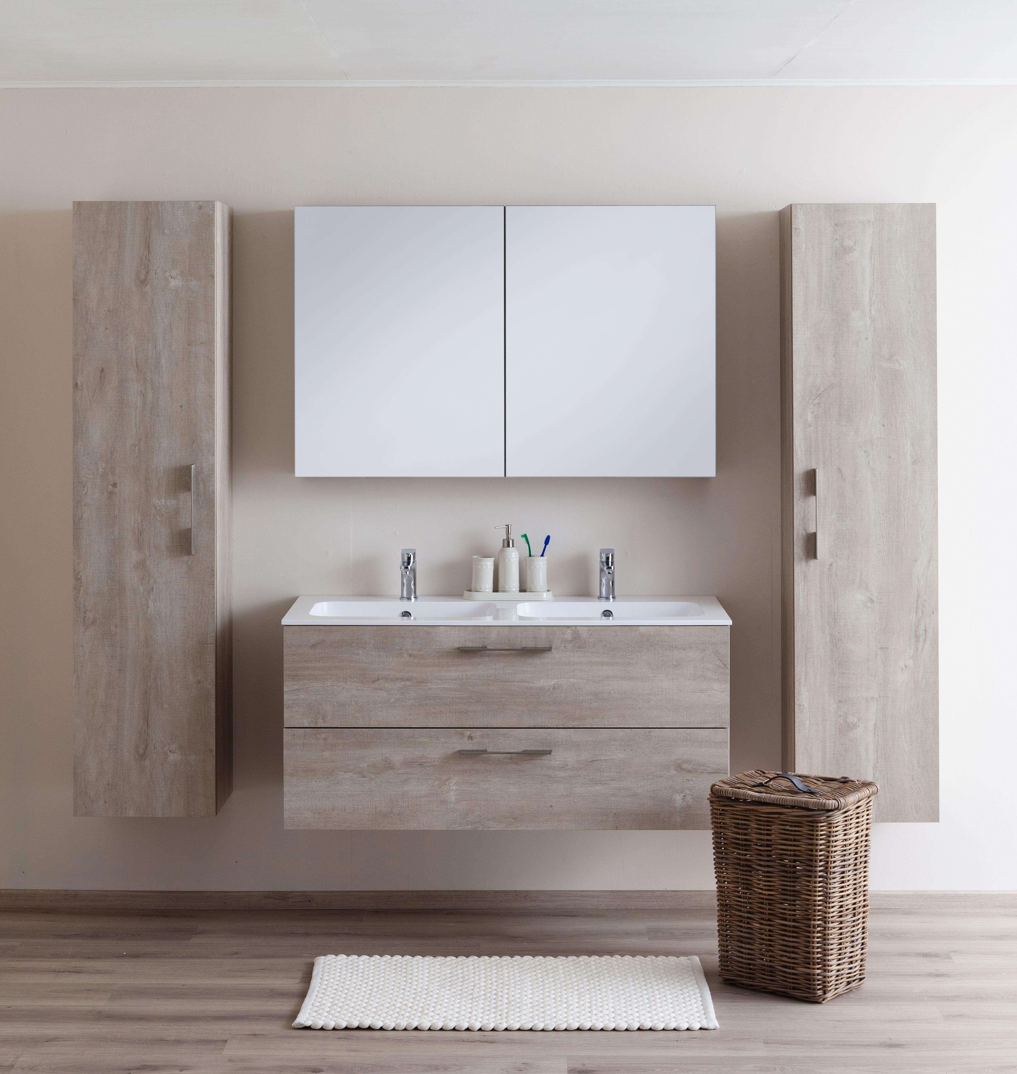 badkamermeubel dante eik betonlook dubbel 2 lades tijdloze