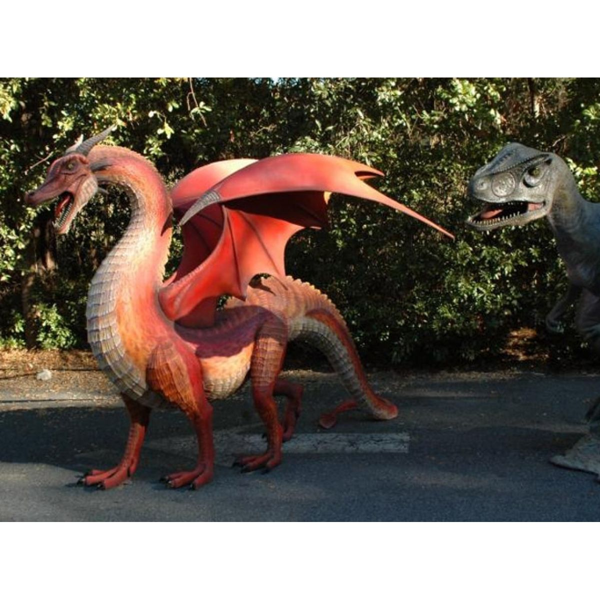 Giant Dragon Red Wings Big Huge Statue Cool Life Size