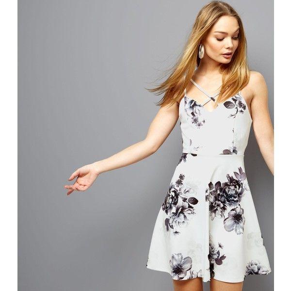 New Look White Floral Print Cross Strap Skater Dress 165 Myr