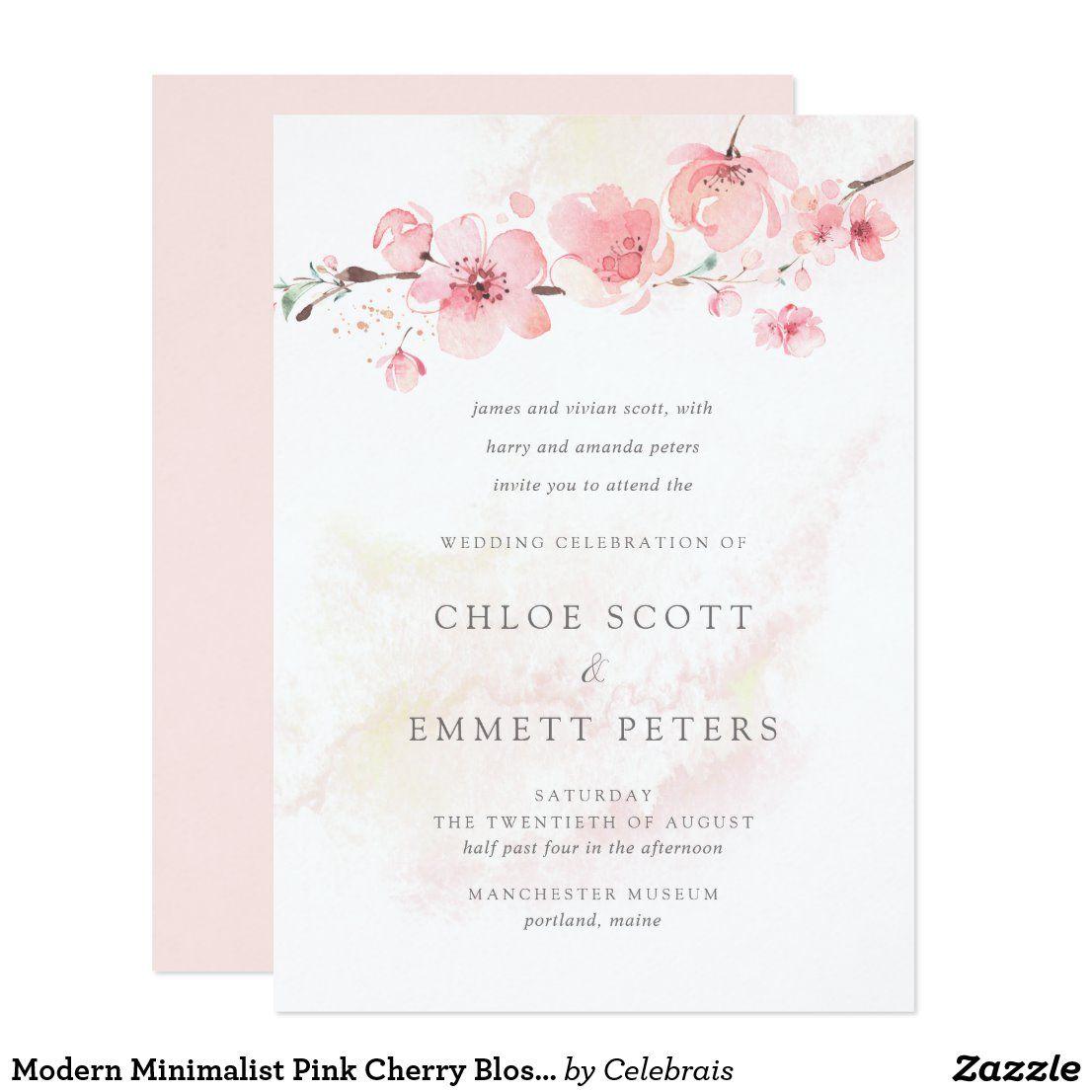 Modern Minimalist Pink Cherry Blossom Wedding Invitation Zazzle