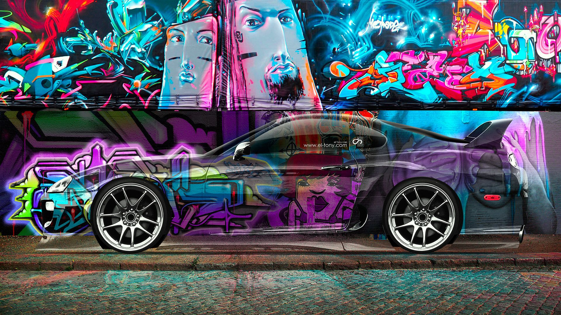 Elegant Toyota Supra JDM Graffiti Side Crystal Car 2014