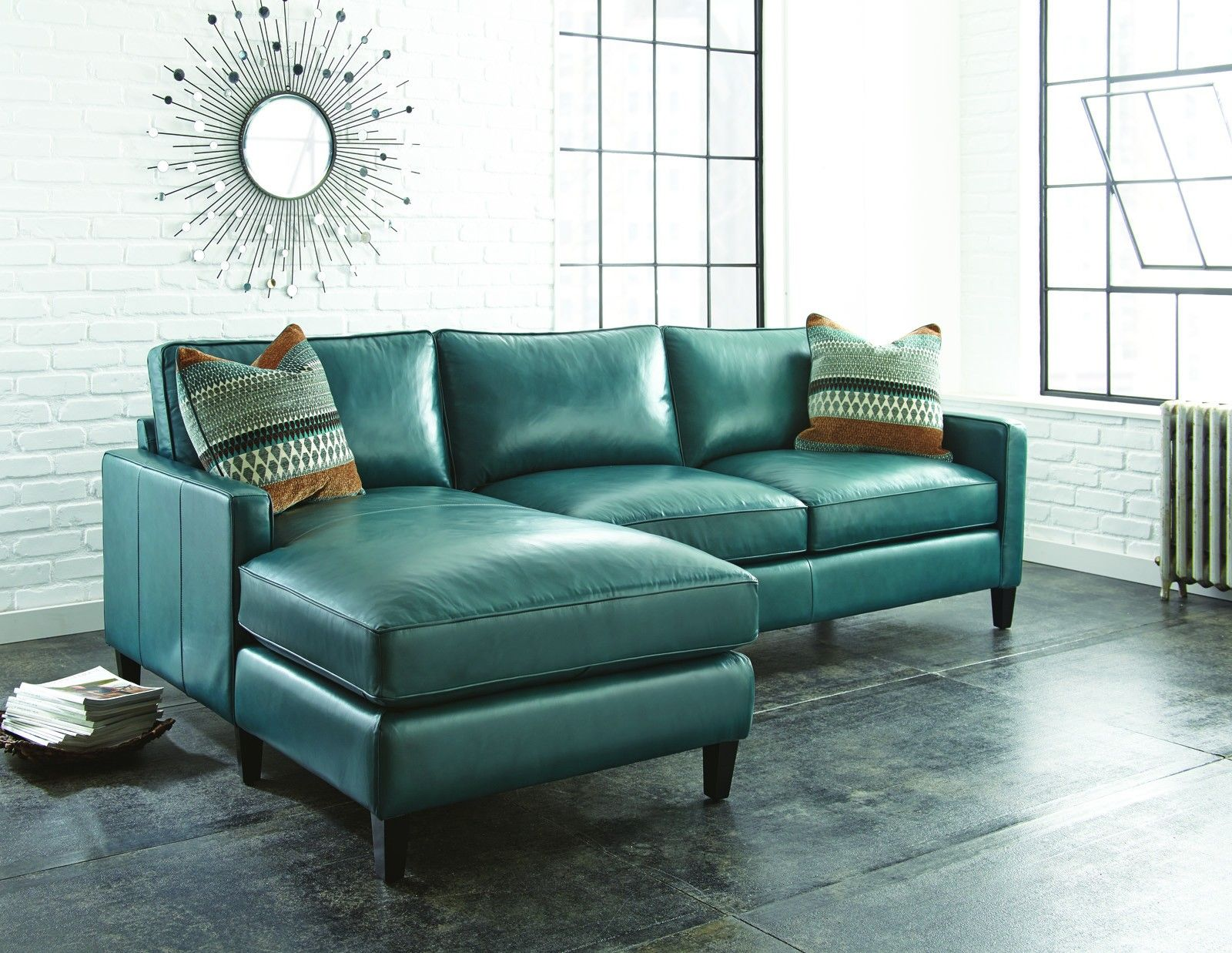 teal blue leather sofa thesofa. Black Bedroom Furniture Sets. Home Design Ideas