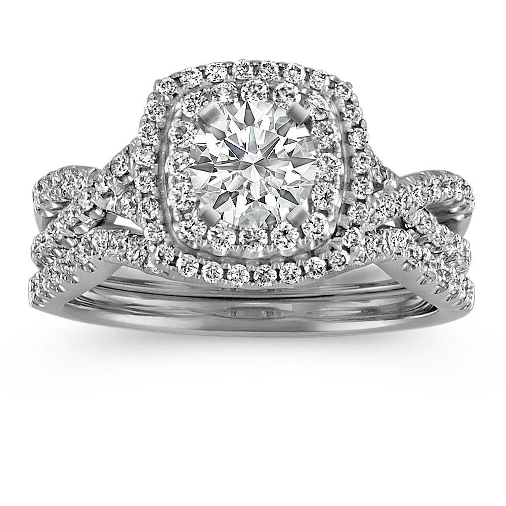Square Double Halo Infinity Diamond Wedding Set Diamond