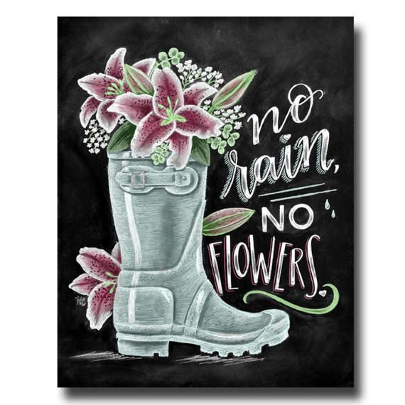 Flower Wall Decor Reversible Mosaic With Chalkboard: No Rain No Flowers, Spring Art, Lily Art, Chalk Art, Rain