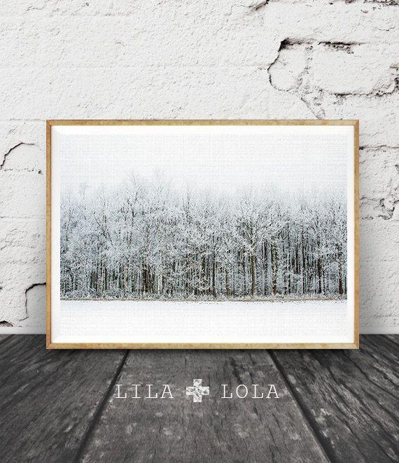 Moderne skandinavische Print, Winter Landschaftsfotografie, Scandi Wand Kunst Dekor, Schneewald Bäume, Natur Wildnis, druckbare