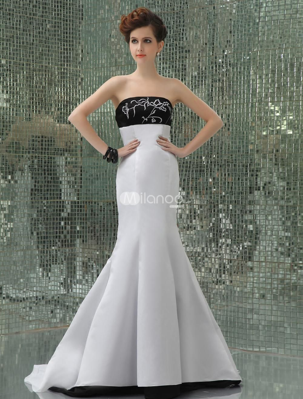 Silhouette wedding dresses simple bridal  White Satin Lace Embroider Strapless Mermaid Trumpet Prom Dress