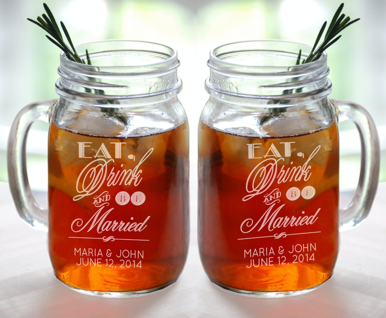 Amazon Com Eat Drink And Be Married Set Of 2 Personalized Mason Jars Drinking Mugs Personalized Mason Jars Wedding Mason Jar Wedding Mason Jar Glasses Wedding