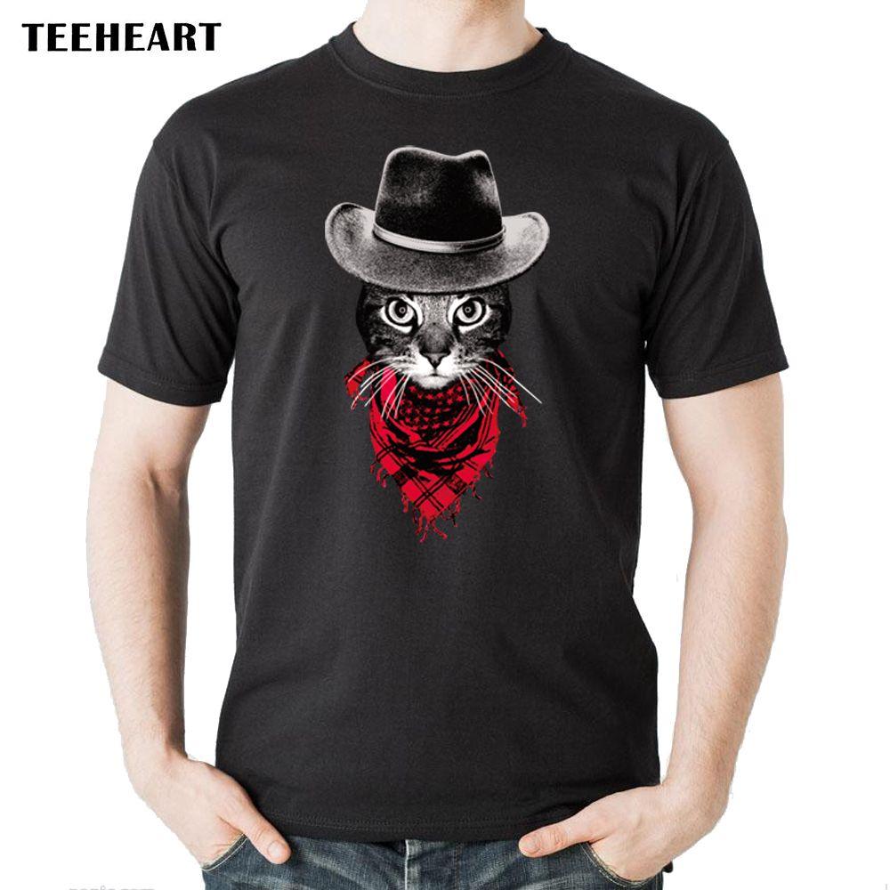643fcb0d3a 2017 Men s Summer Cowboy Cat Printed Short Sleeve Cotton T-Shirt Plus Size  Cool Tops
